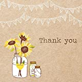 Thank You Cards - Rustic Sunflowers - Pack of 10 - wedding, birthday, an occasion
