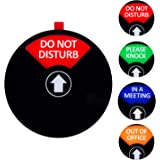 Kichwit Privacy Sign, Do Not Disturb Sign, Out of Office Sign, Please Knock Sign, in a Meeting Sign, Office Sign, Conference Sign for Offices, 5 Inch, Black