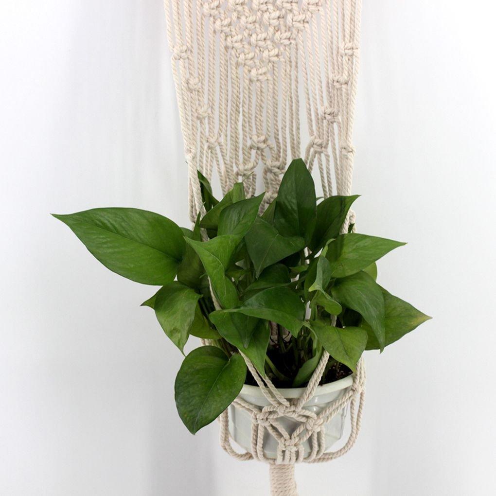 Pigupup Blume Blumentopf Korb-Halter-Weinlese-Bohe Makramee Blumentopf h/ängendes Seil Wandbehang Art Home Decoration