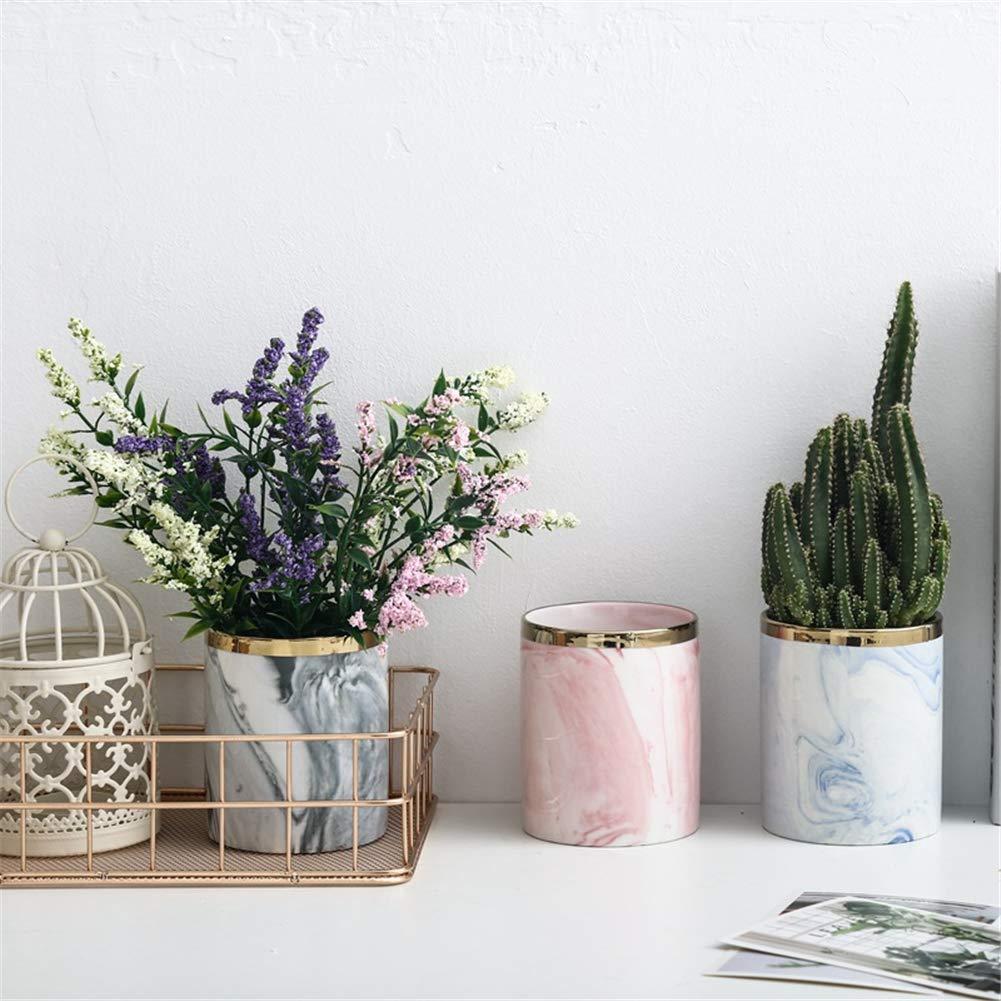 Topaty Iron Shelf Marble Succulent Plant Pot Cactus Pots Ceramic Pot Concrete Planters Modern Home Decor for Garden Decor Black,L