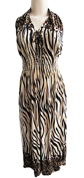 ba36405ff7f Ladies Animal Print Summer Dress Casual Beach Maxi Sundresses for Women at Amazon  Women s Clothing store