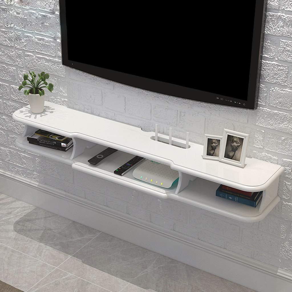 Floating Shelf Modern Wall Mounted Floating TV Shelf TV Console Home Media Entertainment Storage Shelf TV Stand TV Cabinet Sky Box Set Top Box Game Console (Color : White, Size : 120×24×14.6cm) by SjYsXm-Floating shelf