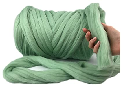 Giant Wool Yarn Chunky Arm Knitting Super Soft Wool Yarn Bulky Wool Roving  (2 kg/4 4 lbs, Fern Green)