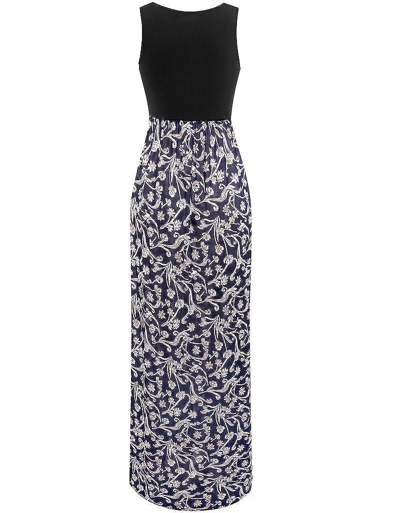c6a755c9b1 Mely Shine Womens Floral Print Sleeveless Maxi Dress Long Flowy Summer Dress  Small Black/Blue Print at Amazon Women's Clothing store: