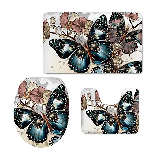 Showudesigns Thick Printing Butterfly Toilet Seat Cover Soft Warmer WC Mad Pad