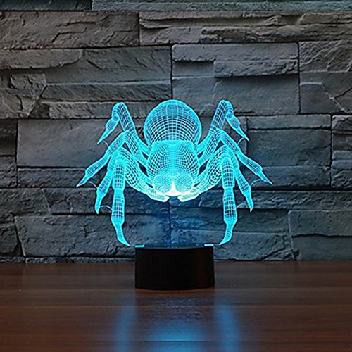 [Amazing Spider Animal 3D Illusion Table Lamp Night Light with Diamond Ring Shape with 7 Color Light Color-Changing Night Light Home Deco Living Room Show Express Expedited 4-7 business] (Pi Day Costume Ideas)