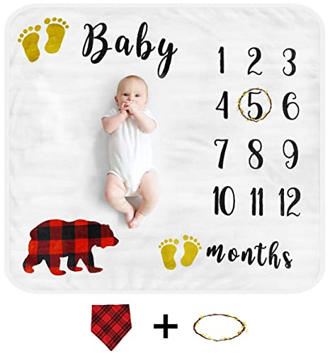 Linda/'s Baby Milestone Blanket for Baby Boy and Girl Includes 28 Premium Milestone Cards Perfect Photo Prop for Newborn Large 47x47 Animal Theme Monthly Baby Photo Blanket