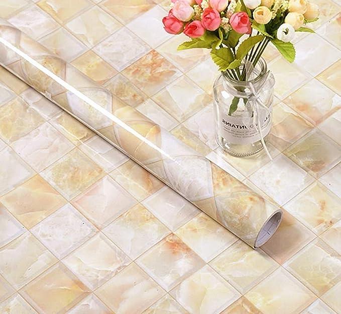 Meboom Rollo de plástico Adhesivo de Granito con diseño de ...