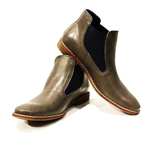 Modello Basilio - Cuero Italiano Hecho A Mano Hombre Piel Gris Chelsea Botas Botines - Cuero Cuero Suave - Ponerse: Amazon.es: Zapatos y complementos