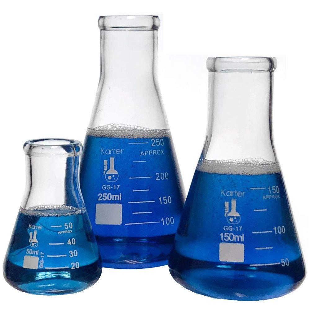 Glass Erlenmeyer Flask Set - 3 Sizes - 50, 150 and 250ml, Karter Scientific 214U2