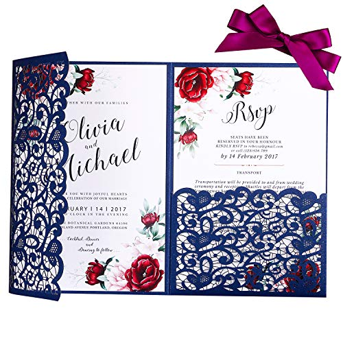 - PONATIA 20 PCS 5.1 x 7.2 '' Laser Cut 3 Folds Wedding Invitation Cards Set with Burgundy Ribbons Ivory Pearl Paper Envelopes for Wedding Bridal Shower Engagement Birthday Graduation Party (Navy Blue)