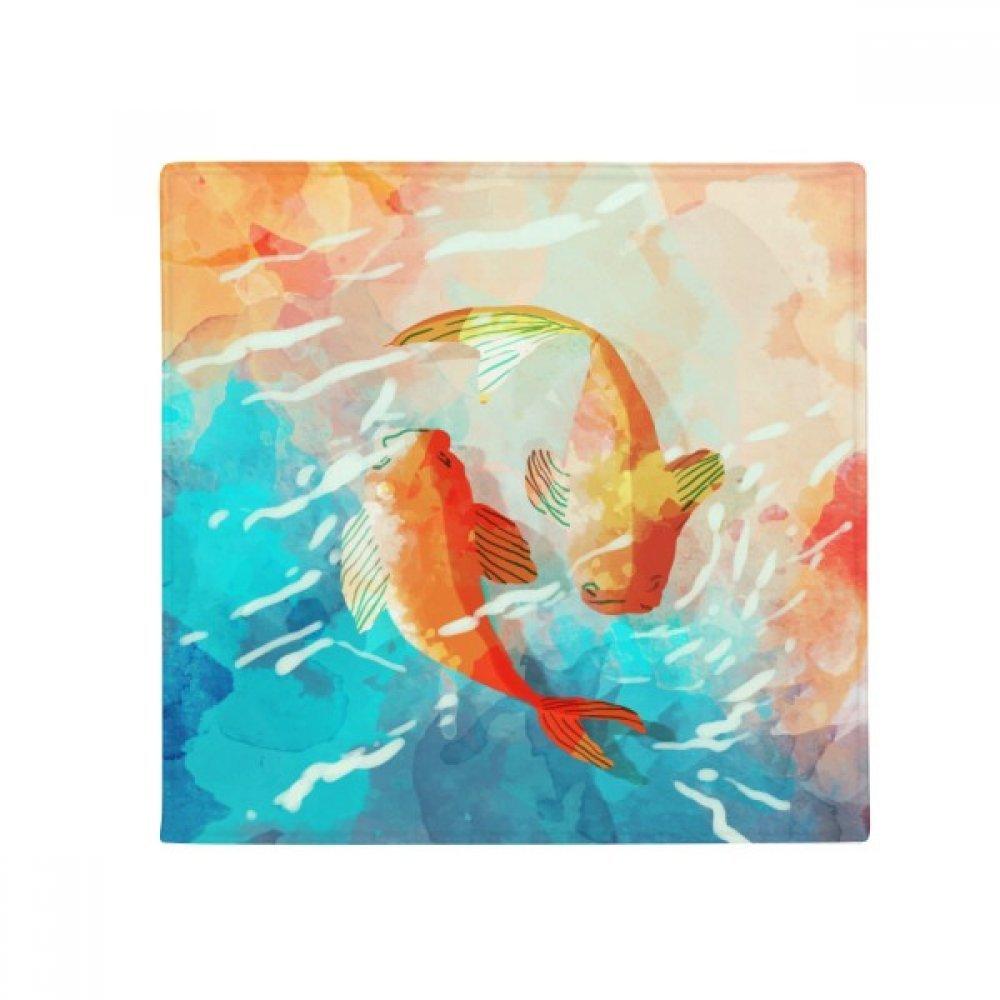 DIYthinker Red Koi Fishes Watercolor Japan Style Anti-Slip Floor Pet Mat Square Home Kitchen Door 80Cm Gift