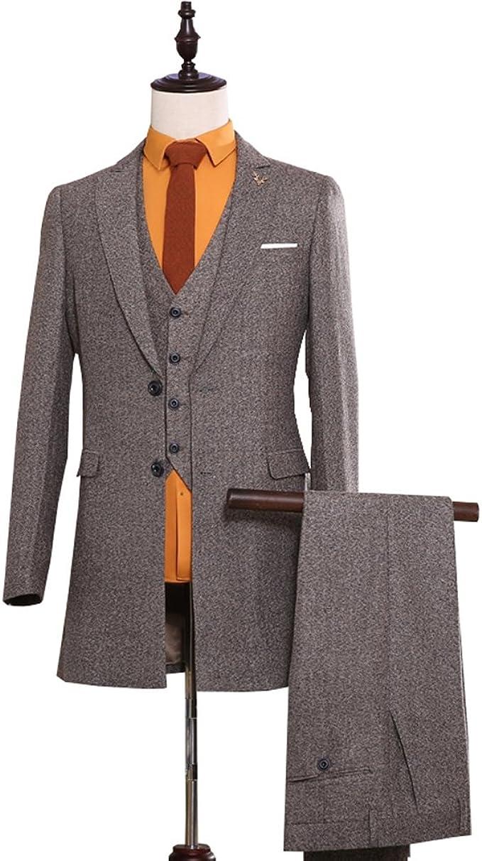 Men/'s Blue Tweed Herringbone Wool Blend Tuxedo Groom 3 Piece Formal Suit Custom