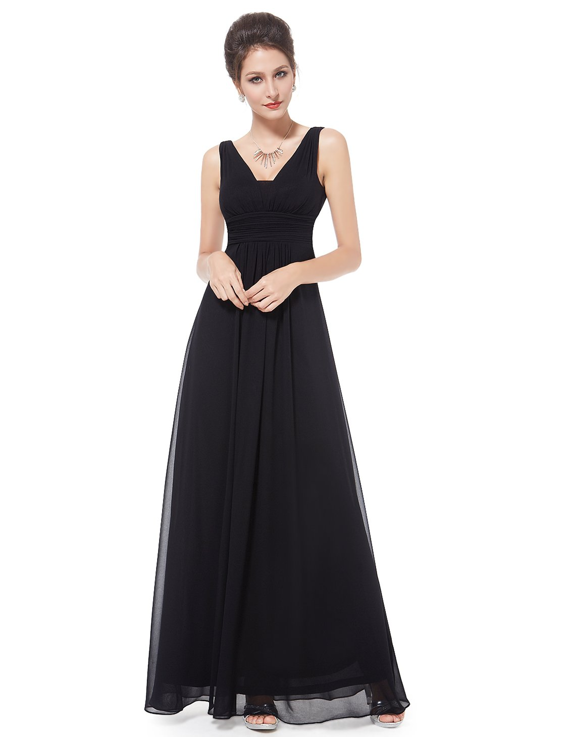 Ever-Pretty Floor Length Dress Wedding Party for Women 12US Black