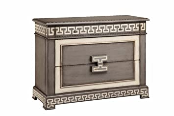 Stein World Furniture 3 Drawer Greek Key Chest, Stormy Gray