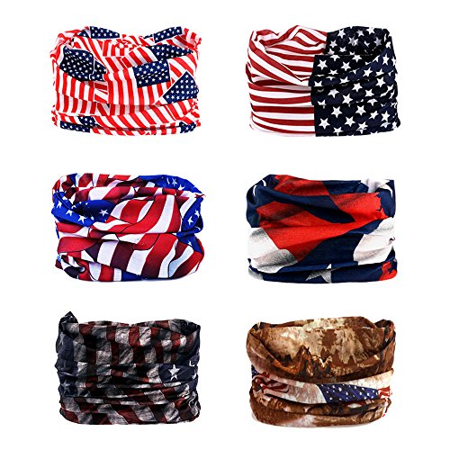 Headwear, Godspeed Headwrap 6-Pack Headband & Bandanna 16-in-1 Multifunctional Telescopic Seamless Scarf Facemask For Outdoor Leisure Activities