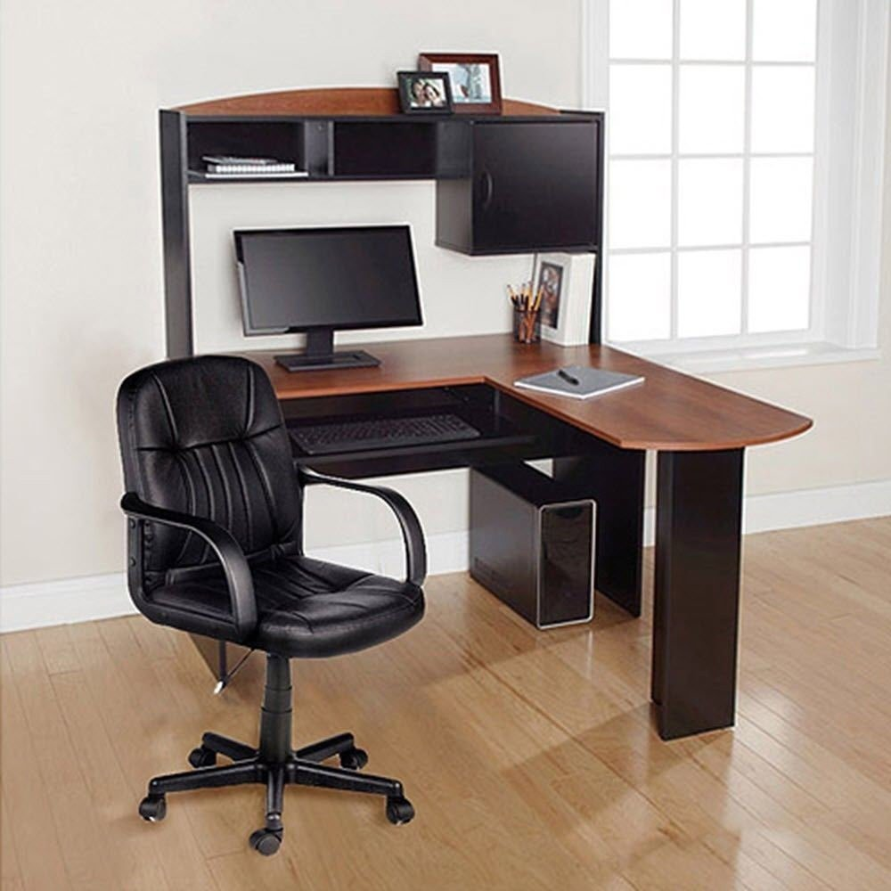 Computer Desk & Chair Corner L-Shape Hutch Study Table Ergonomic Home Office New Generic