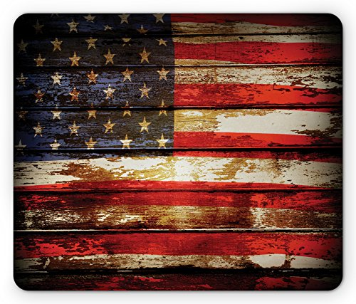 Ambesonne American Flag Mouse Pad, Us Symbolism Over Old Rusty Tones Weathered Vintage Social Plank Artwork, Standard Size Rectangle Non-Slip Rubber Mousepad, Multicolor