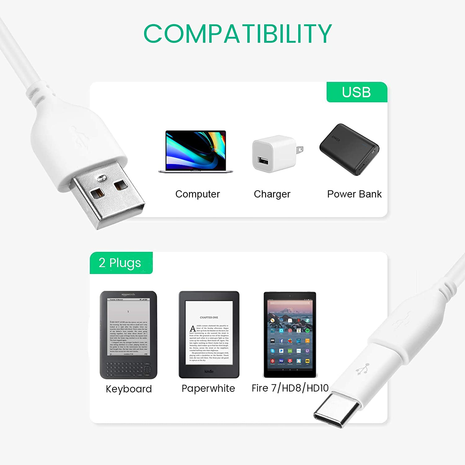 1M 2M 3M FLAT NOODLE USB CHARGER CABLE FOR AMAZON KINDLE: TOUCH DX HD FIRE