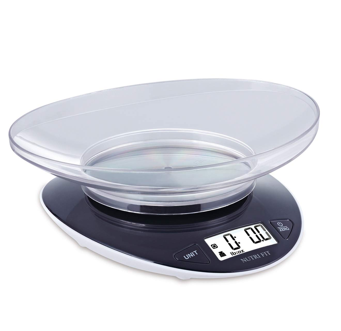 NUTRI FIT Digital Kitchen Food Scale Weight in Grams and Ounces for Cooking and Baking with 0.8L Removable Bowl High Precison for Coffee Vegetable Meat Cake, Black