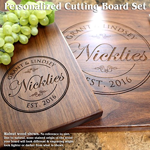Round Stamp Personalized Engraved Cutting Board Set- Wedding Gift, Anniversary Gifts, Housewarming Gift,Birthday Gift, Corporate Gift, Award, Promotion. #001