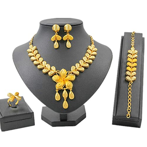 5a5ee95d768 Liffly Fashion Indian Jewelry Set for Women Yellow Gold Tone ...