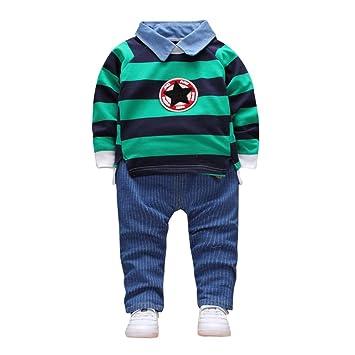 b61aac85480b0 緑色 おしゃれ 星と縞 2点セット(上着+パンツ) かわいい ベビー服