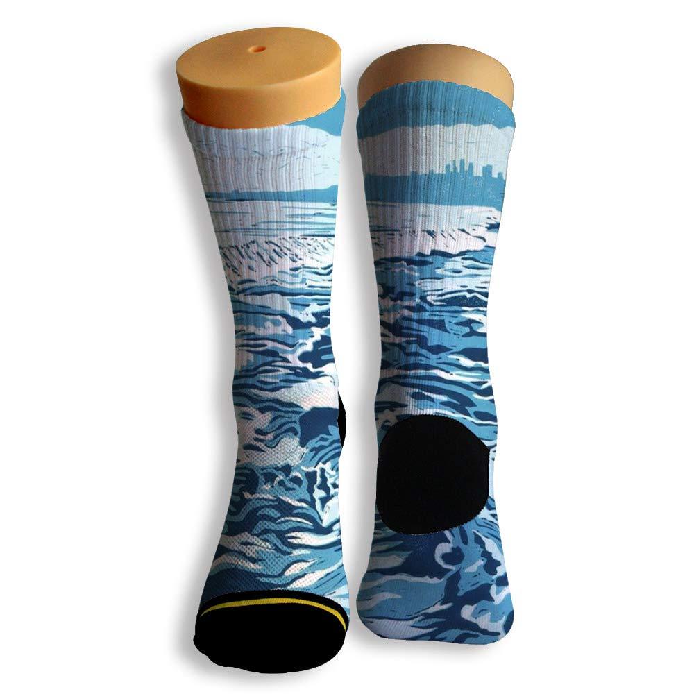 Basketball Soccer Baseball Socks by Potooy Fierce Blue Waves 3D Print Cushion Athletic Crew Socks for Men Women