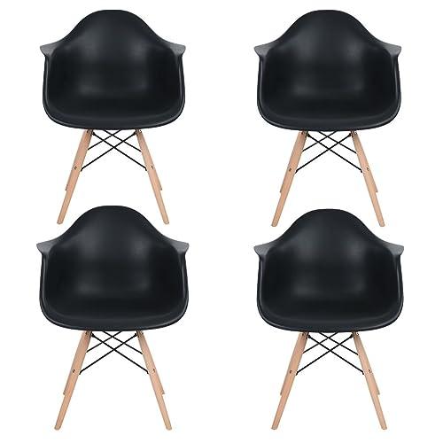EGGREE Lot de 4 Scandinave Chaises de Salle à Manger Chaise de Salon Chaises de Café Les Fauteuils Lounge Fauteuil de Bureau Meubles - Kohler,Noir
