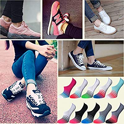 AUDTOPEM Women's No Show Socks Flats Liner Non Slip (6 Pairs), Black/Grey/Light Blue/Pink, Sock: 9-11/Shoe: 6-8 at Women's Clothing store