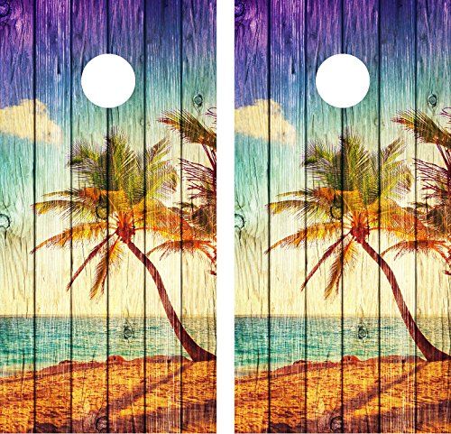 Cornhole Wrap Decal Beach Palm Tree Weathered Wood Laminated Includes 2 Decals
