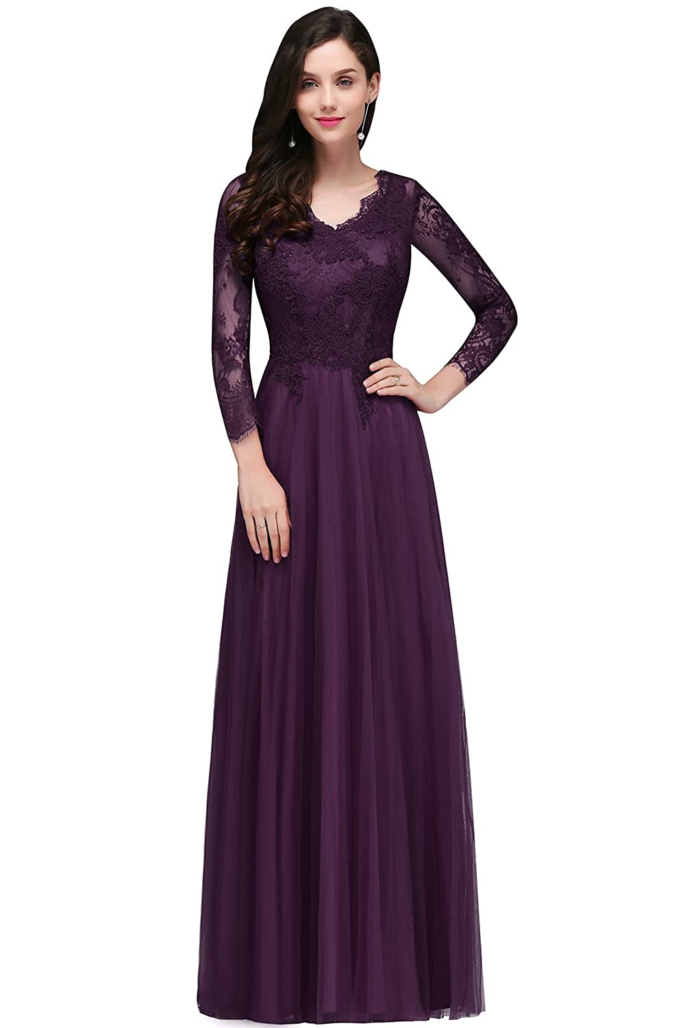 9ba9f6582cc MisShow Womens Lace Long Sleeve V Neck Formal Evening Party Long Maxi Dress