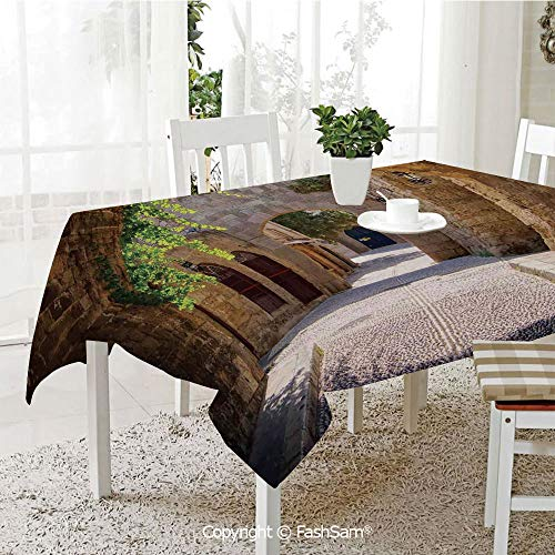 3D Dinner Print Tablecloths Ancient Italian Street in A Small Provincial Town of Tuscan Italy European Kitchen Rectangular Table Cover (W60 xL104) -