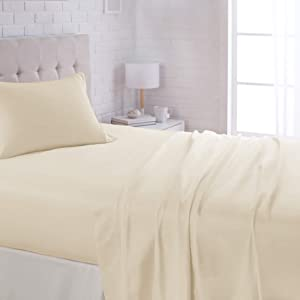 "AmazonBasics Lightweight Super Soft Easy Care Microfiber Sheet Set with 16"" Deep Pockets - Twin XL, Beige"