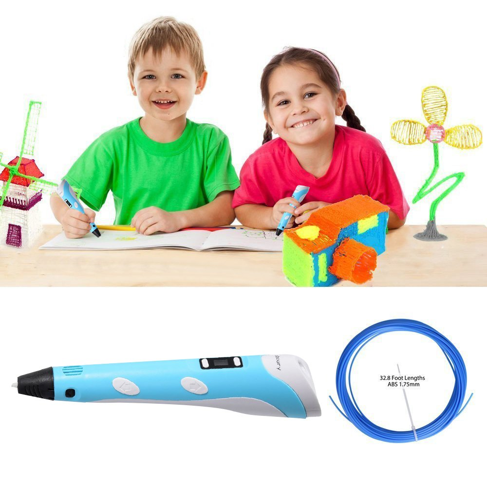 3D Printing Pen for Kids,Juboury JBY-II 3D Drawing Pen with LCD Temperature Display for Model Printing,Art Design,DIY and Crafts Drawing-Compatible with 1.75mm ABS and PLA Filament (Blue)