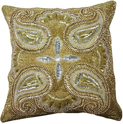 Linen Clubs Mini Paisely Beaded Cushion Cover 14x14 Gold Silver Multi (Walmart Bath Linens)