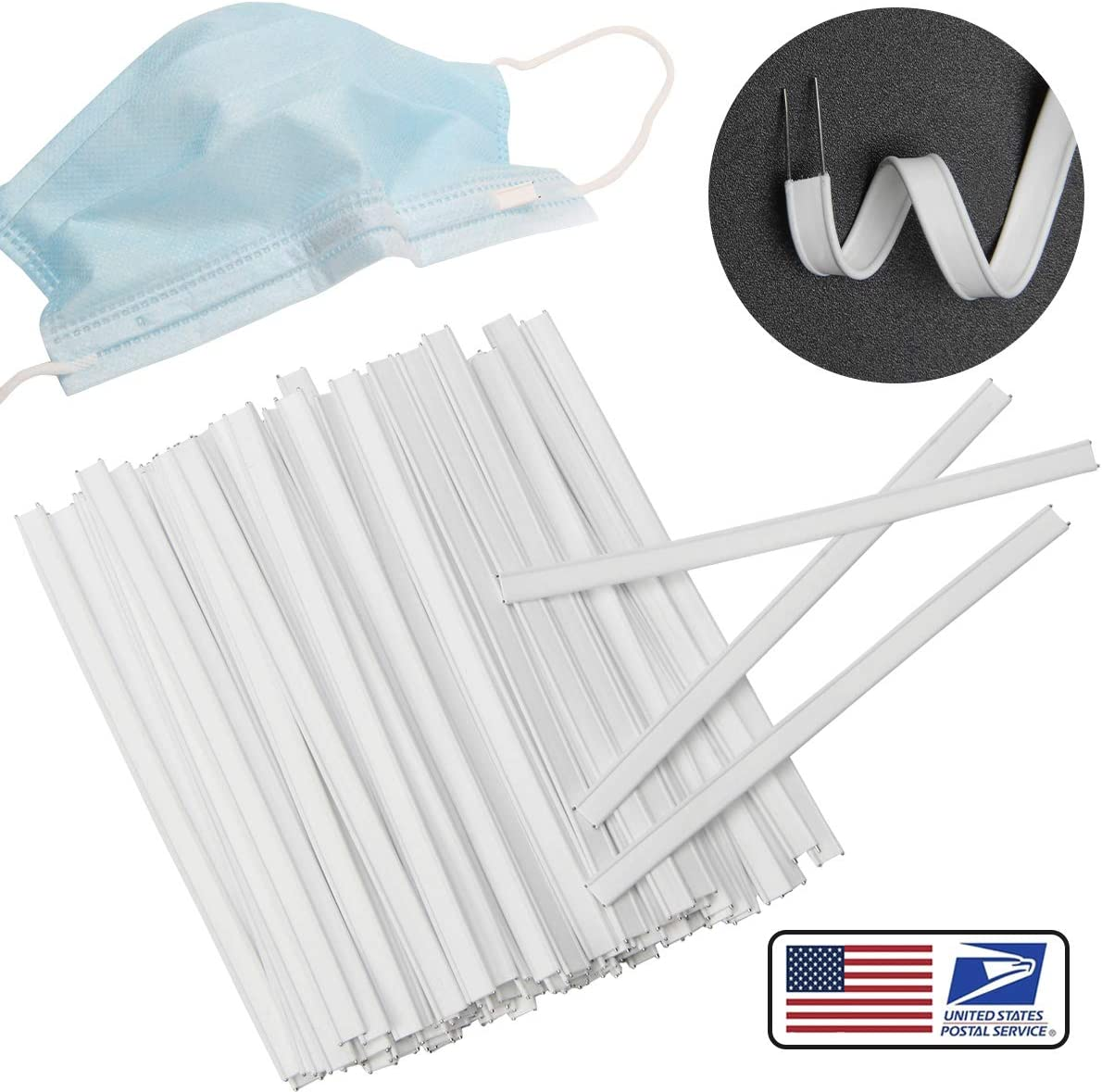 Flat Nose Wire Clips Plastic Strips for Handmade Crafting Plastic Nose Bridge Strip Wire for DIY Making 10CM Double Wire Nose Bridge Strips 200