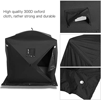 AYNEFY Winter Fishing Tent, 2 Person Waterproof Oxford Cloth Portable Ice Fishing Tent UV Low Temperature Resistant Automatic Pop Up Tent Shelter for