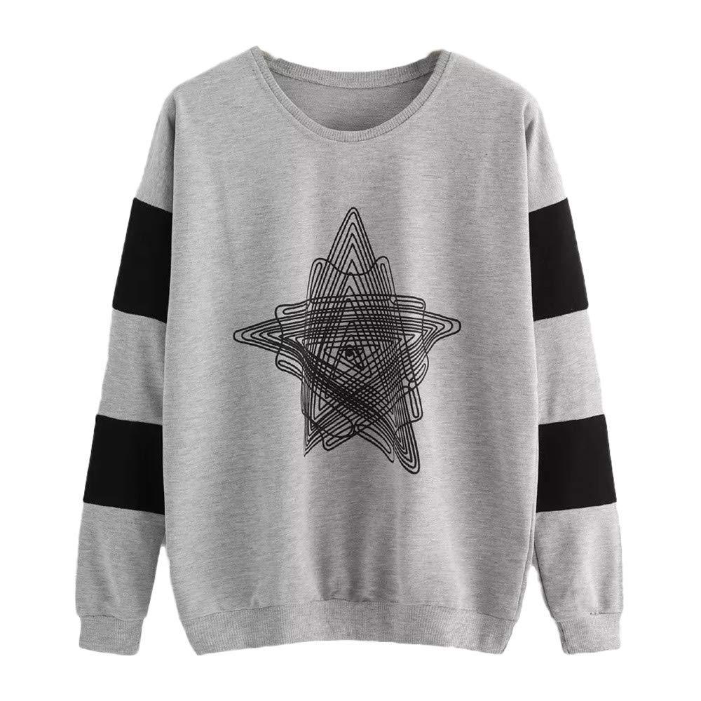 Sannysis Women Long Sleeve Casual Stitching Sweatshirt Pullover Top Blouse, Gray XL