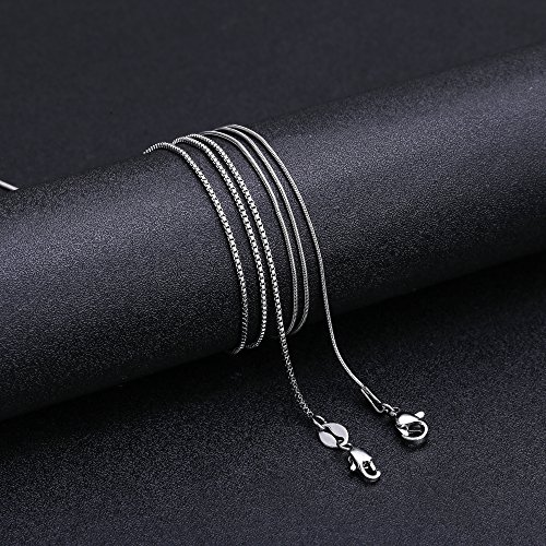LOLIAS 2 Pcs Stainless Steel 1mm Round Snake Chain Box Chain Necklace Super Thin & Strong,30 Inch by LOLIAS (Image #5)
