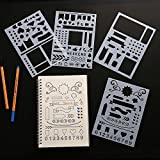 Arts & Crafts : BULLET JOURNAL STENCIL SET 4 PACK - Banners, Dividers, & Icons Fits Leuchtturm & Moleskine A5 Notebooks, Best Used with Huhuhero Fineliners & Sakura Micron Pens, 5 X 7 inches