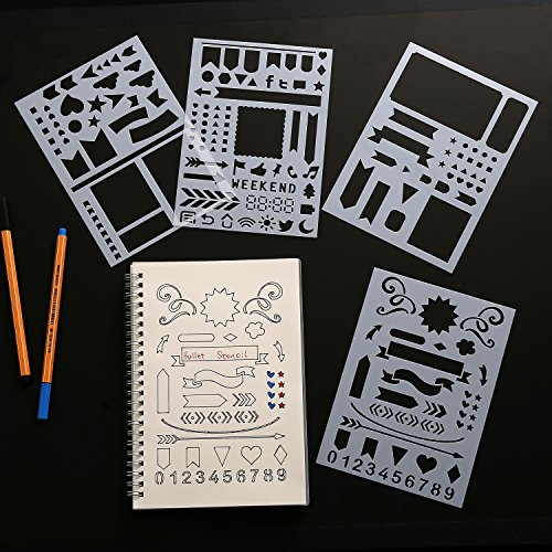 BULLET JOURNAL STENCIL SET 4 PACK - Banners, Dividers, Icons Fits Leuchtturm & Moleskine A5 Notebooks, Best Used with Huhuhero Fineliners & Sakura Micron Pens, 5 X 7 inches from MUUYIYA