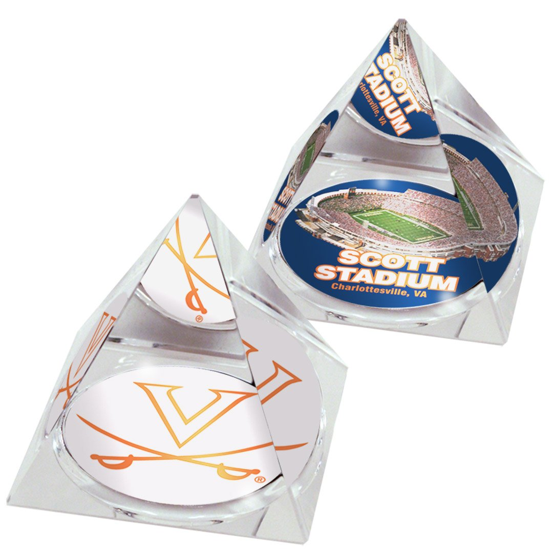 NCAA University of Virginia Cavaliers logo in 2 Crystal Pyramid with Colored Windowed Gift Box