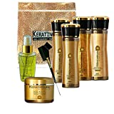 Keratin Cure Best Treatment Gold & Honey Bio 6 Pieces Silky Soft Hair Formaldehyde Free Professional Complex Argan Oil Nourishing Straightening Damaged Frizzy Coarse Curly Wavy Hair (160ml/ 5 fl oz)