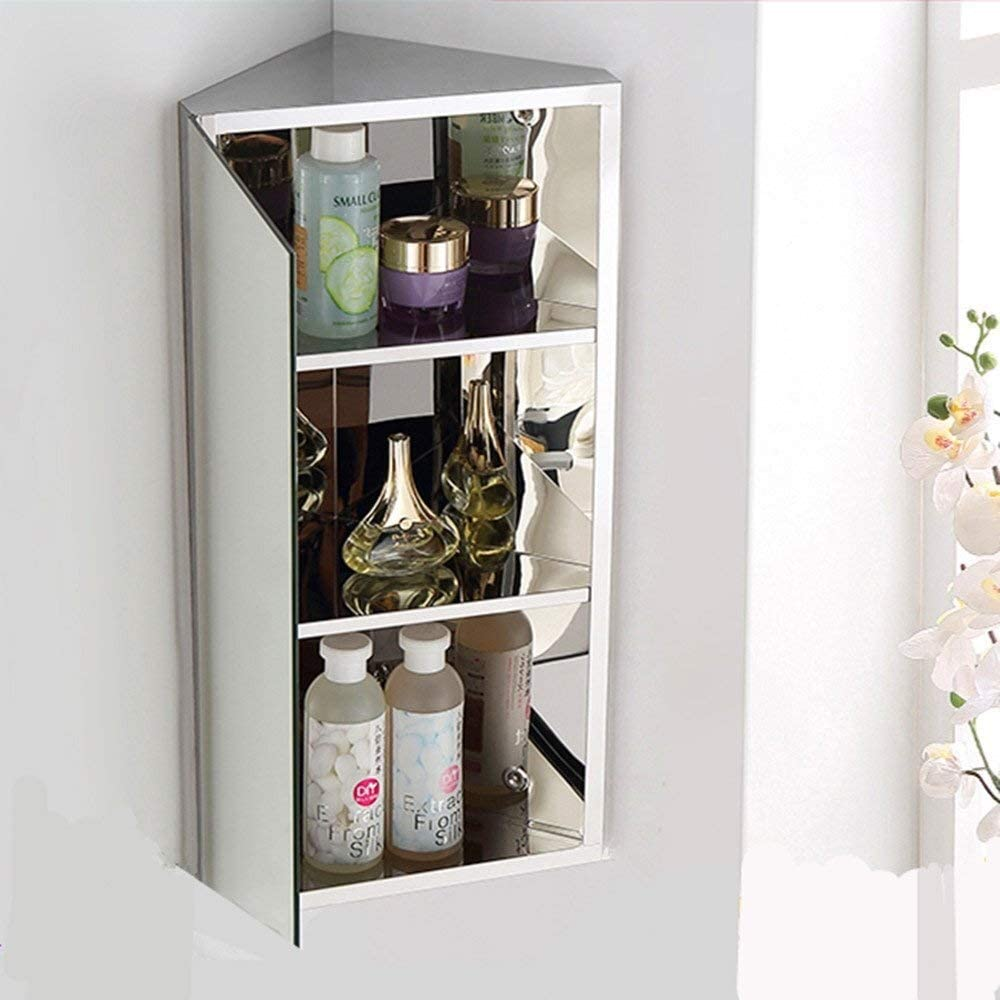 Bathroom Mirror Cabinet Wall Corner Mounted Stainless Steel Medicine Shelves Cupboards Storage Unit Size 3 Shelves Home Kitchen