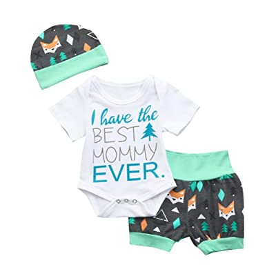 ®GBSELL Baby Girls Boy Letter Cartoon Fox Print Romper Shorts Hat Outfits Set