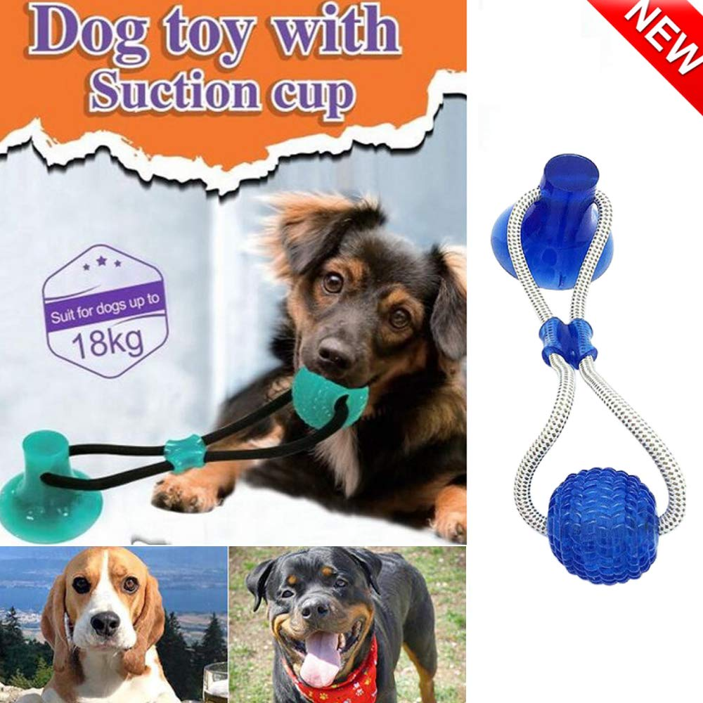 Jmkan Pet Molar Bite Toy, Multifunction Interactive Ropes Toys, Self-Playing Rubber Chew Ball Toy with Suction Cup, Teeth Cleaning Tool for Dogs Cats by Jmkan