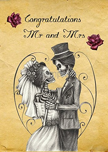 Gothic skeleton married lovers a6 alternative wedding gothic skeleton married lovers a6 alternative wedding congratulations greetings card m4hsunfo