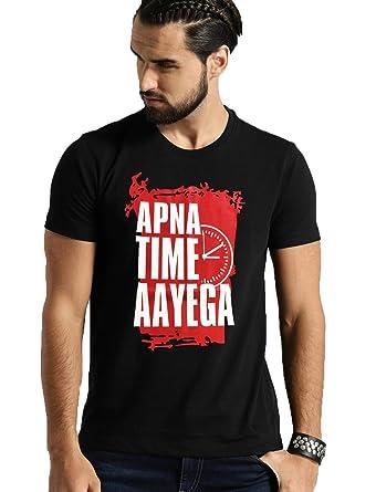 7b683917 Smartees Men's Cotton Printed Half Sleeve Apna Time Aayega T-shirt (Black ,  Medium