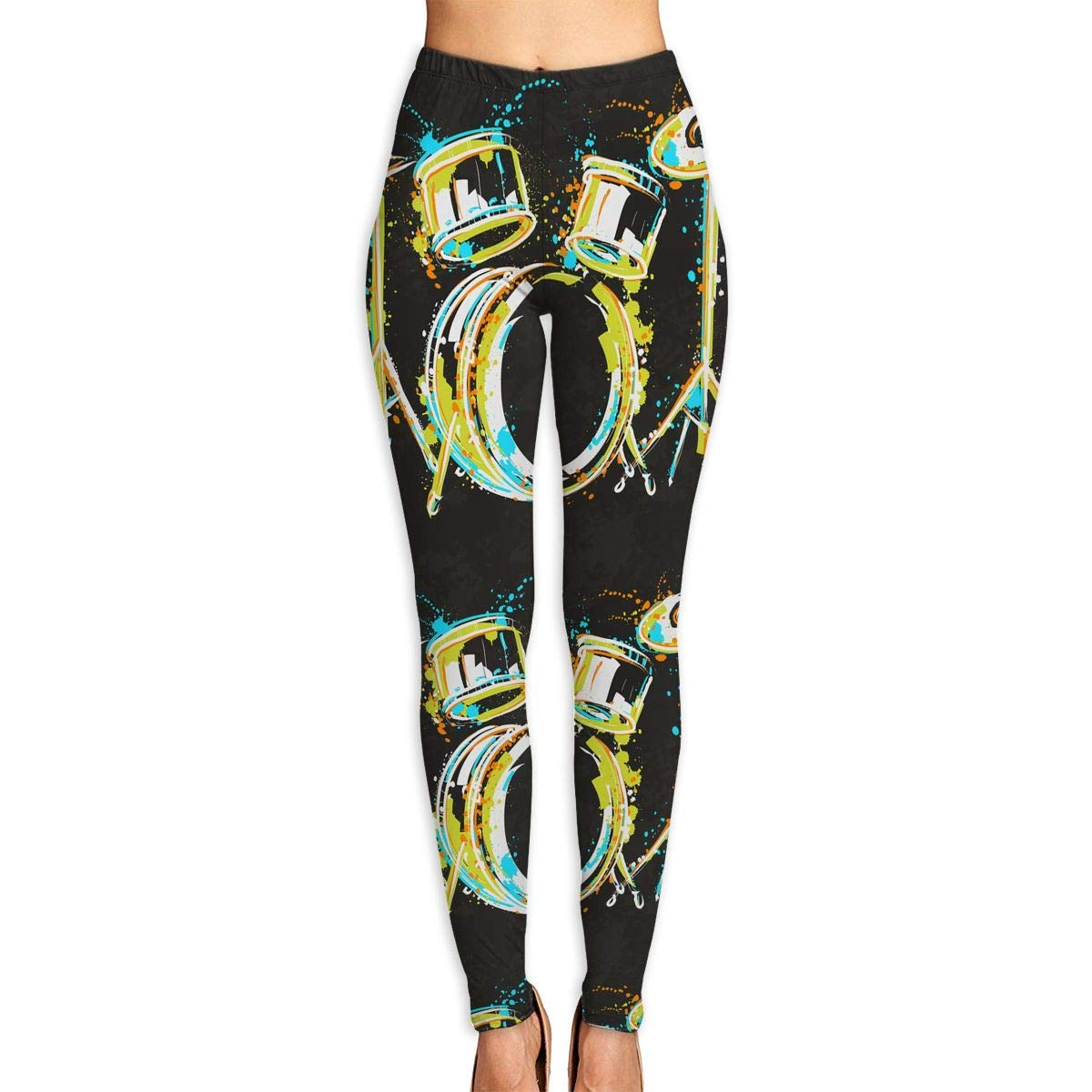 Ayf-S478 Vintage Abstract Drum Womens Yoga Pants Sports Workout Leggings Athletic Tight Pants Fitness Power Stretch Yoga Leggings Tummy Control